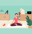 businesswoman doing yoga in office vector image