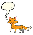 cartoon little fox with speech bubble vector image vector image