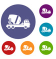 concrete mixer truck icons set vector image vector image