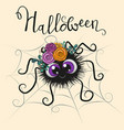 cute cartoon spider with witch hat vector image vector image