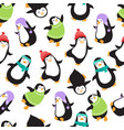 cute christmas baby penguins seamless vector image vector image