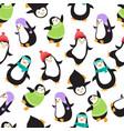 cute christmas bapenguins seamless vector image vector image