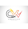 cw creative modern logo design with orange and vector image vector image