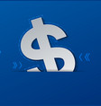 dollar sign cut from white paper on blue vector image