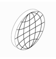 Earth globe emblem icon isometric 3d style vector image