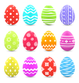 Easter set colorful ornate eggs with shadows vector image vector image