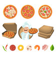 fast food for party or italian lunch pizza with vector image