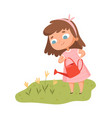 girl watering flowers bawith watering can vector image