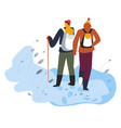 hikers walking on snow with trekking pole and vector image