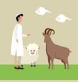 islamic man with lamb animal