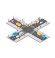 isometric crossroads intersection streets vector image