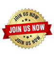 join us now 3d gold badge with red ribbon vector image vector image