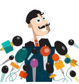 man with microphones businessman or politician on vector image