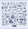 many food pictures hand drawn vector image