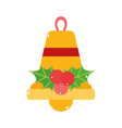 merry christmas gold bell mistletoe decoration vector image vector image