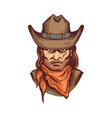 portrait cowboy in hat and bandana cartoon vector image vector image