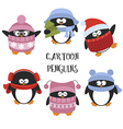 Set of cartoon penguins vector image vector image