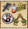 Set of different objects poison skin and other vector image