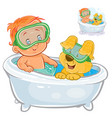 small child in a swimming circle and a vector image vector image