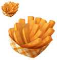 sweet potato fries in paper box icon vector image vector image