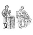 technician bricklayer and man builder on the roof vector image