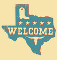 texas welcome map silhouette with bull skull vector image