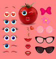 tomato girl emoji creator design collection vector image