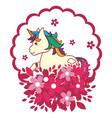 unicorn round icon vector image