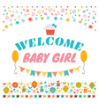 Welcome baby girl Announcement card Baby shower vector image vector image