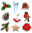 Winter scrap set elements vector image vector image