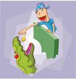 feeding dinosaur vector image