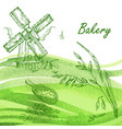 bakery set hand drawn windmill oats grain with vector image
