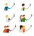 Monopod selfie flat icons vector image