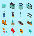 aquarium icons set vector image vector image