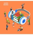 Audio books isometric flat concept vector image vector image