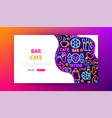 bar cafe neon landing page vector image vector image