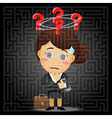 business woman solving the solution of labyrinth vector image