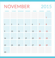 Calendar 2015 flat design template November Week vector image vector image