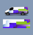 cargo van decal with green wave shapes truck vector image vector image