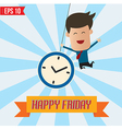 Cartoon Businessman happy friday - - EPS10