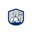 Chef Cook Holding Roller Plate Retro vector image vector image