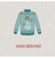 Christmas card sweater with snowman vector image vector image