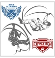 Climbers and Mountain climbing emblem vector image vector image