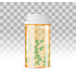 closed bottle of capsule shaped pills on the vector image vector image