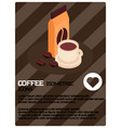 coffee colored isometric poster vector image vector image