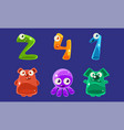 collection jelly creatures and numbers glossy vector image vector image