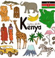 collection kenya icons vector image vector image
