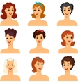 Collection of portraits beautiful pin up girls vector image vector image