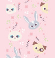 cute animals faces rabbit cat dog flowers floral vector image