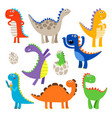 cute cartoon dinosaurs vector image